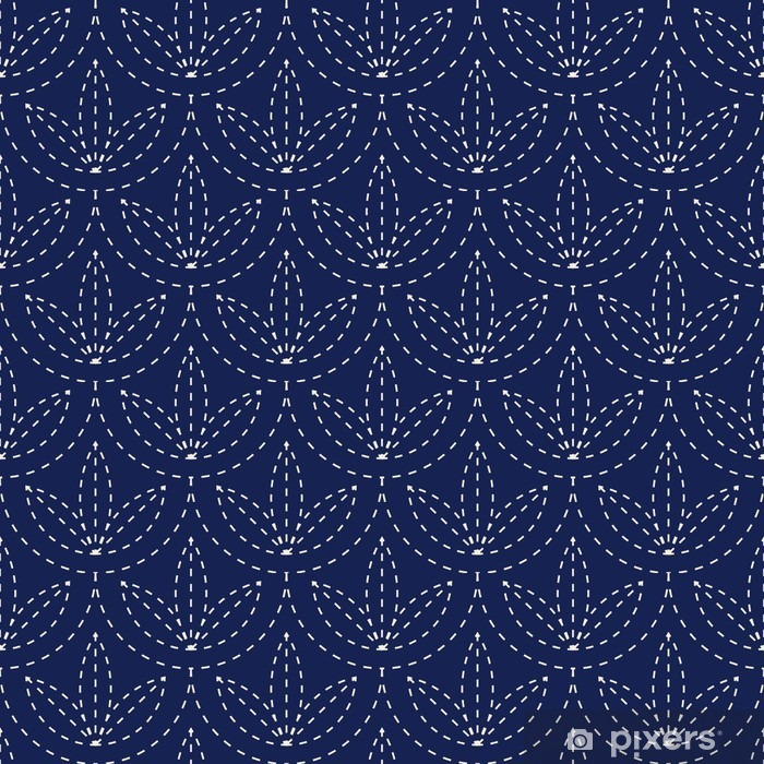 Pixerstick Sticker Naadloze porselein indigo blauw en wit vintage Japanse sashiko kimono patroon vector - Grafische Bronnen
