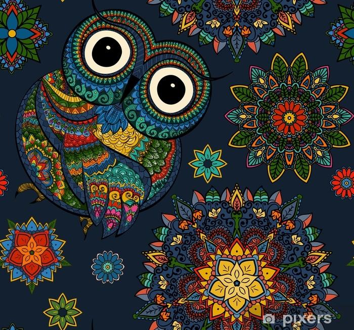 Naklejka Pixerstick Wzór z kolor ozdobnych sowa z kwiatów i mandali. afrykański, indyjski, totem, projekt tatuażu. może być używany do projektowania koszulki, torby, pocztówki, plakatu i tak dalej. - Zwierzęta