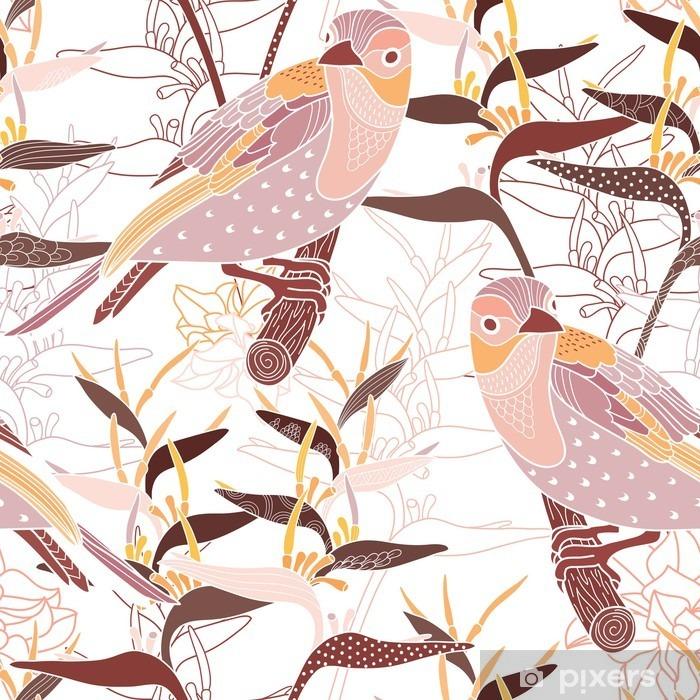 Naklejka na szybę i okno Powtarzalny kwiatowy wzór z ptakami - Zasoby graficzne