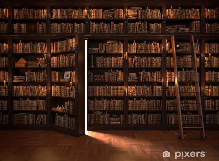 Carta da parati porta segreta nella libreria biblioteca