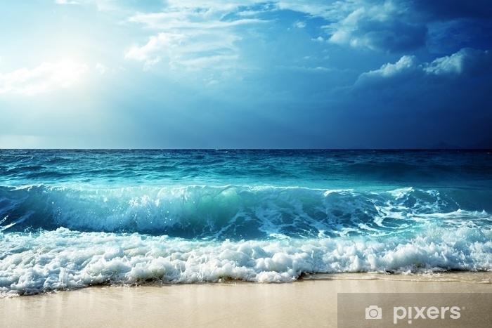 waves at Seychelles beach Pixerstick Sticker - Landscapes