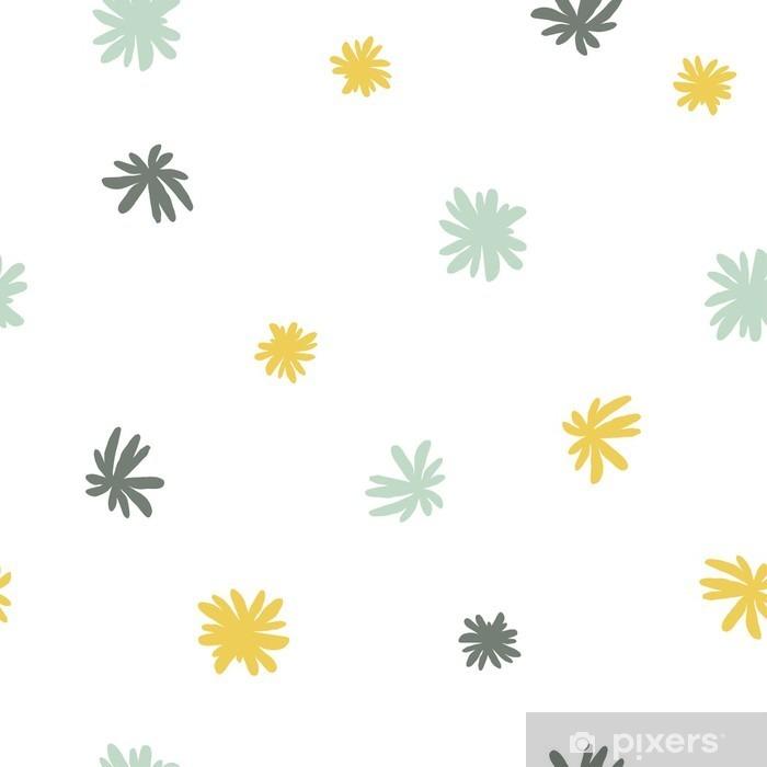 Vector seamless cute minimalistic flower pattern. Pixerstick Sticker - Graphic Resources