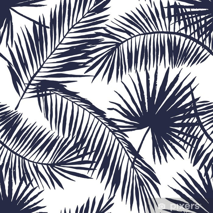Palm leaves silhouette on the white background. Vector seamless pattern with tropical plants. Pixerstick Sticker - Flowers and plants