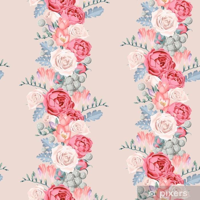 Zelfklevend Fotobehang Bruiloft bloemen naadloos - Bloemen en Planten