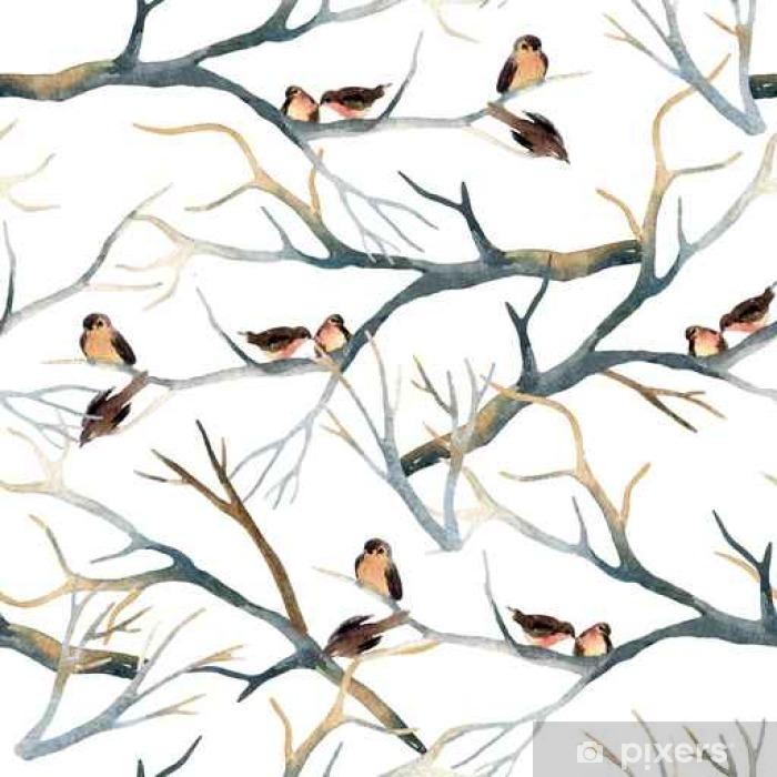 Fototapet av Vinyl Akvarell fåglar på trädgrenar - Djur
