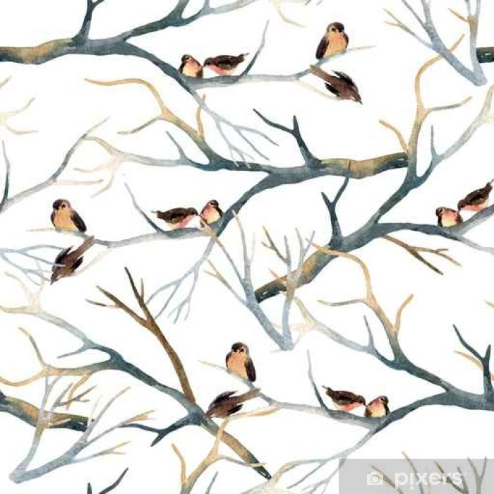 Papier peint vinyle Oiseaux aquarelle sur les branches d'arbres - Animaux