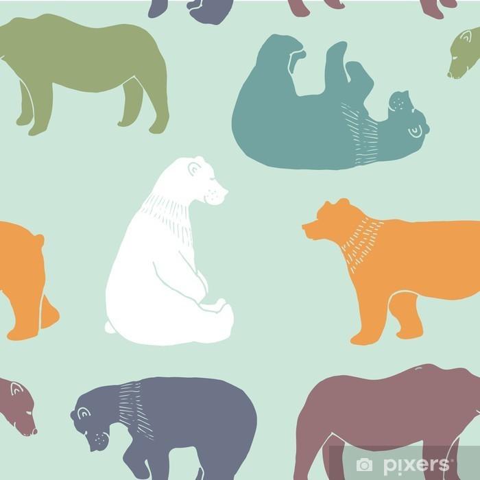 Fototapeta winylowa Niedźwiedzie wzór. - Zasoby graficzne