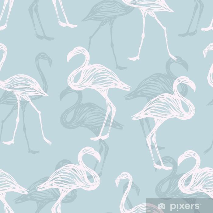 Papier peint vinyle Motif de flamant oiseau - Animaux