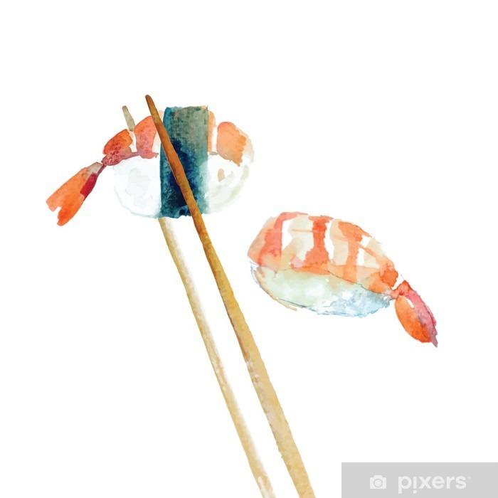 Nálepka Pixerstick Akvarel sushi s krevetami. - Jídlo
