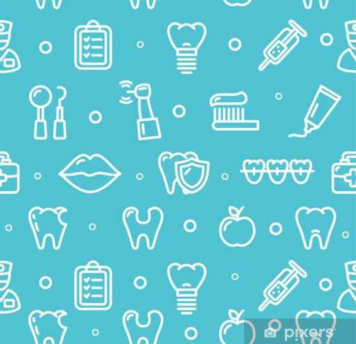 Plakat Dental Clinic zębów Kontekst Pattern. Wektor - Zasoby graficzne