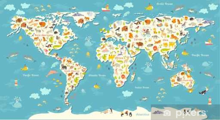 Animals world map. Beautiful cheerful colorful vector illustration for  children and kids. With the inscription of the oceans and continents. ...