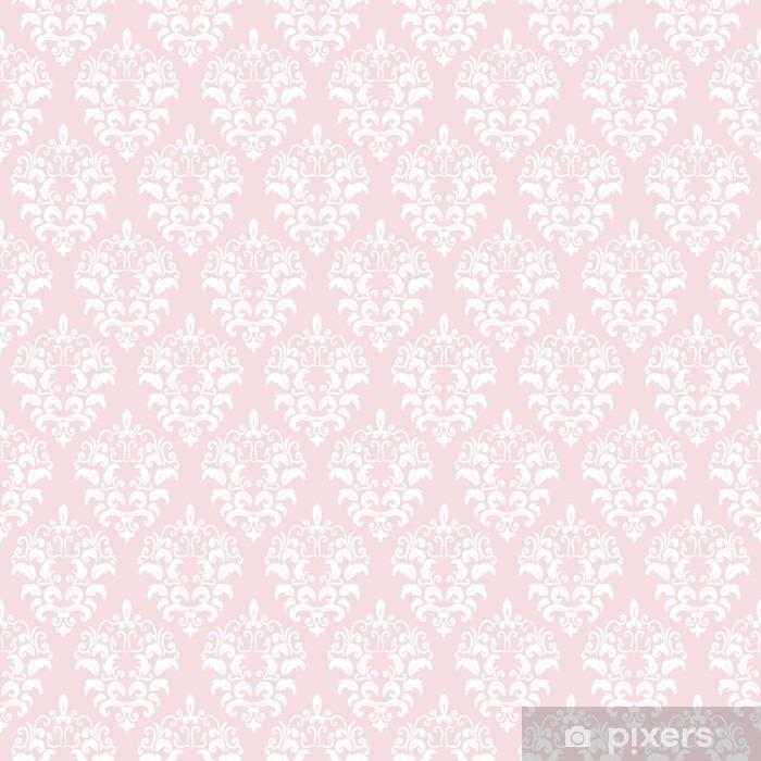 Vinyl Fotobehang Damast naadloze patroon achtergrond in pastel roze. - Grafische Bronnen