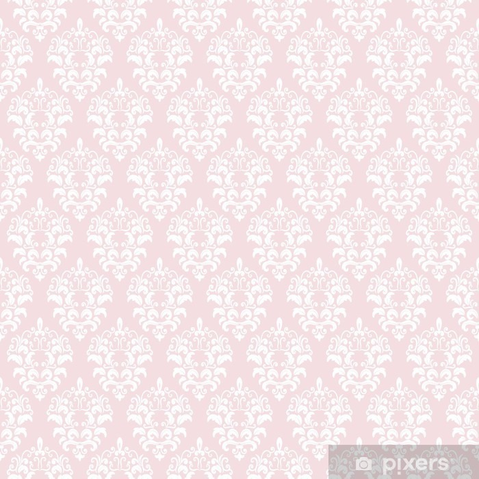 Damask seamless pattern background in pastel pink. Washable Wall Mural - Graphic Resources
