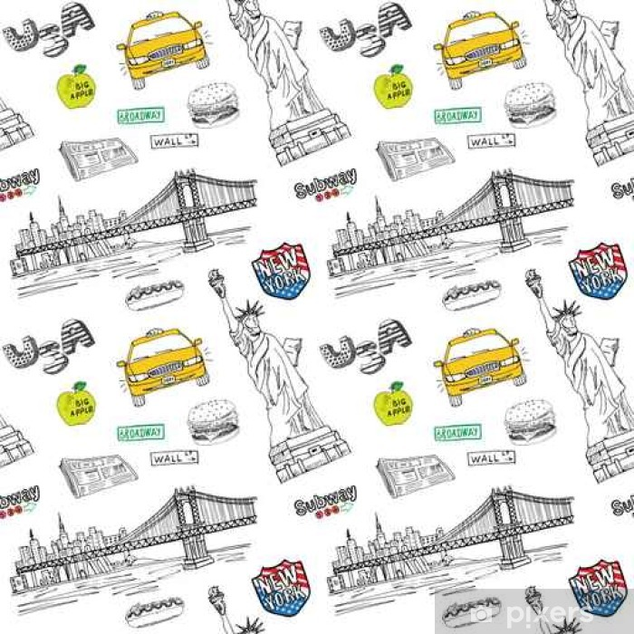 New York City Seamless Pattern With Hand Drawn Sketch Taxi Hotdog Burger Statue Of Liberty Newspaper Manhatan Bridge Drawing Doodle Vector