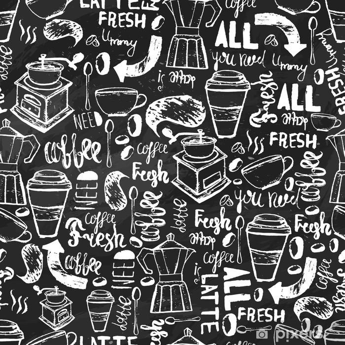 Fototapeta zmywalna Bez szwu ręcznie rysowane kawy bez szwu. wzór Kawa z napisami. Vector kawy wzór na ciemnym tle do owijania, banery. - Jedzenie
