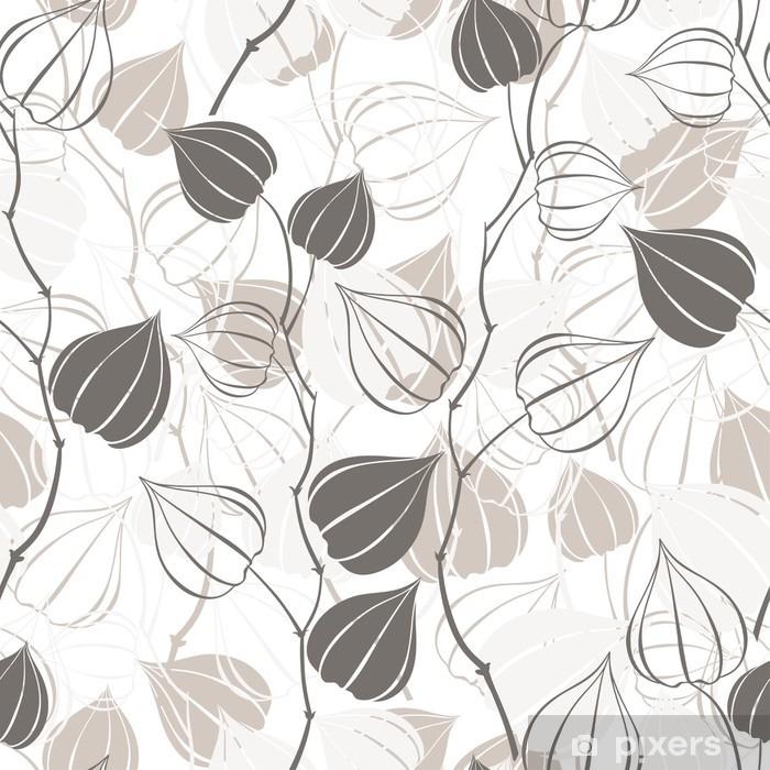 Afwasbaar Fotobehang Naadloos patroon met takken physalis. Abstract floral achtergrond. - Bloemen en Planten