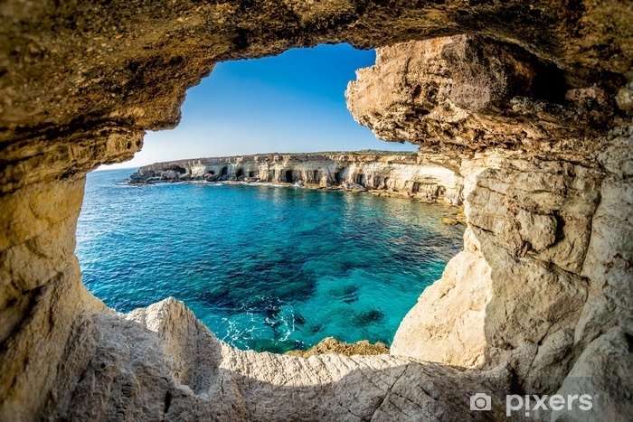 Mural de Parede em Vinil Cavernas do mar perto de Ayia Napa, Chipre - Paisagens