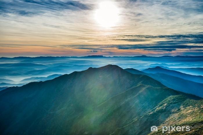 Afwasbaar Fotobehang Zonsondergang in de bergen - Landschappen