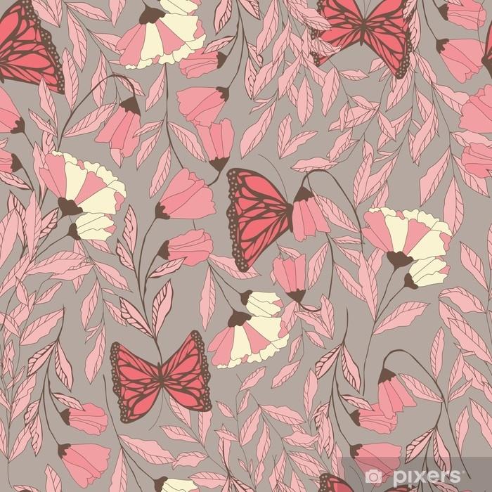 Póster Vector patrón transparente tradicional con mariposas monarca, fl - Plantas y flores