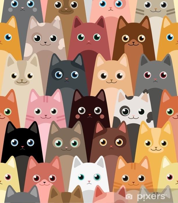 Cats Cartoon Vector Seamless Wallpaper Wall Mural Pixers We