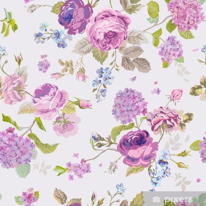 Pixerstick Sticker De lente bloeit achtergrond - naadloos Floral Shabby Chic Pattern - Bloemen en Planten