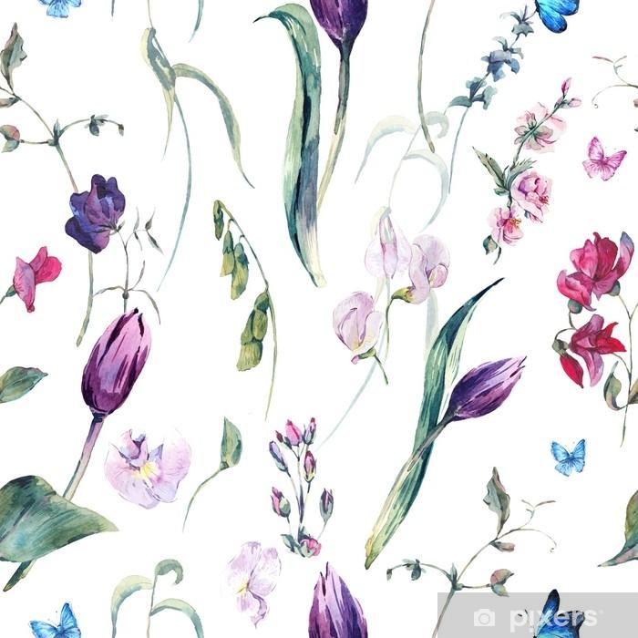 Abwaschbare Fototapete Nahtloser Hintergrund des Aquarells mit Edelwicken, Tulpen - Pflanzen und Blumen