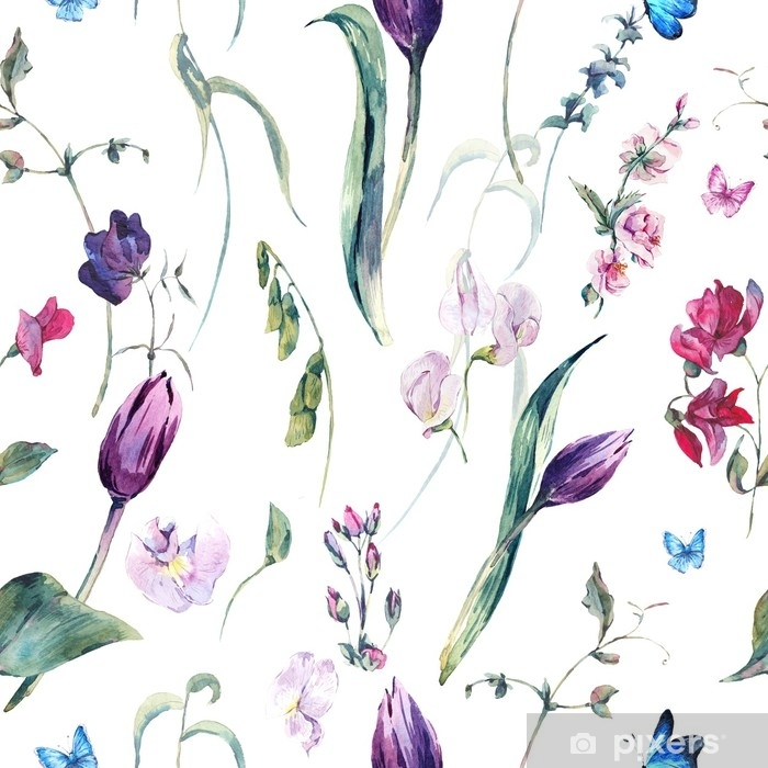 Watercolor Seamless Background with Sweet Peas, Tulips Washable Wall Mural - Plants and Flowers