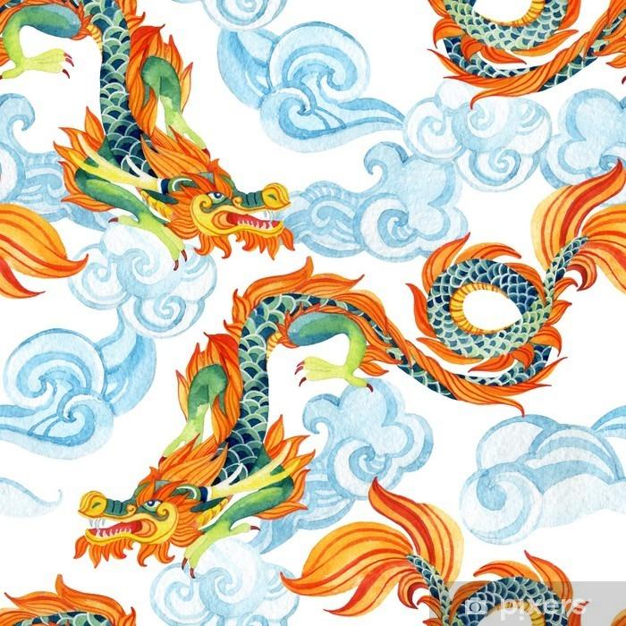 Naklejka Pixerstick Chiński smok szwu. Asian Dragon ilustracji - Religia i kultura
