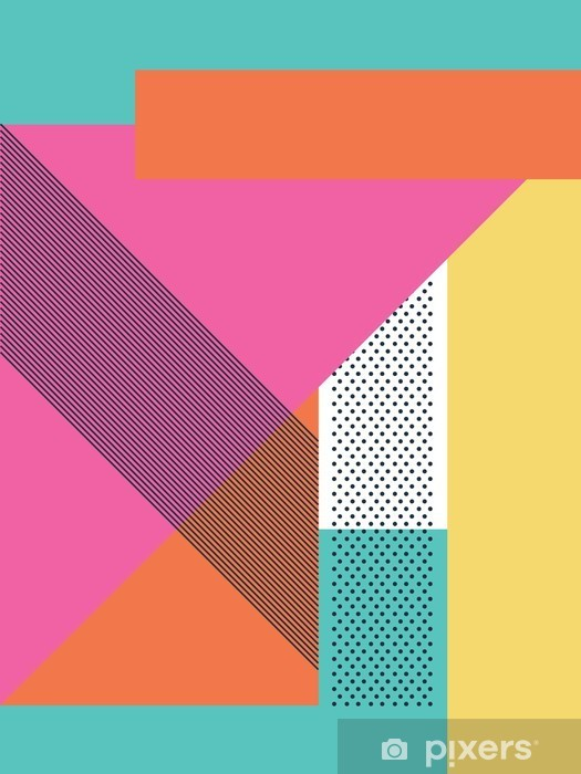 Kapı Çıkartması Geometrik şekiller ve desenli soyut bir retro 80s background. Malzeme tasarım duvar kağıdı. - Grafik kaynakları