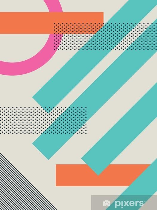 Naklejka Pixerstick Streszczenie 80s retro tło z geometrycznych kształtów i wzoru. Materiał wzór tapety. - Paski