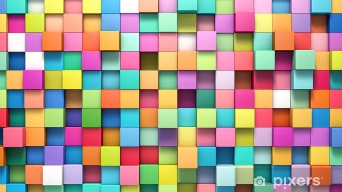 Naklejka Pixerstick Abstrakcyjne tło wielokolorowych kostek - Zasoby graficzne
