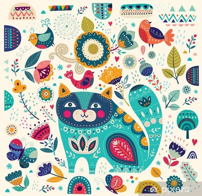 Sticker Pixerstick Vector illustration colorée avec chat belles, les papillons, les oiseaux et les fleurs - Animaux