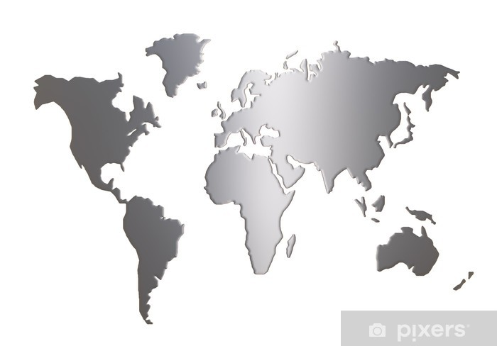 world map silhouette isolated on white background Wall Mural - Vinyl