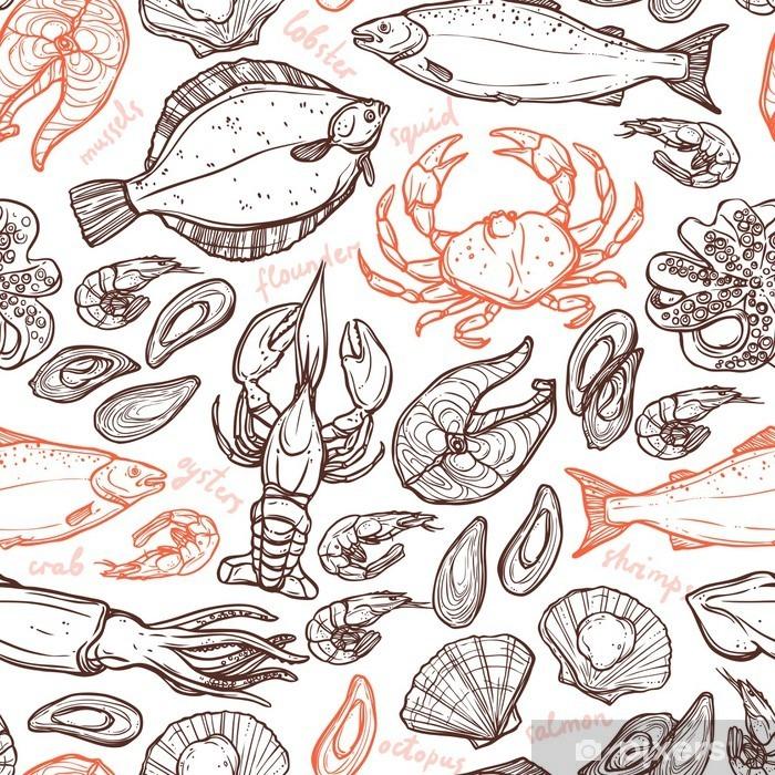 Vinyl Fotobehang Patroon met zeevruchten hand getekende elementen met kreeft, octopus, inktvis, zalm, bot, krab, mosselen, oesters en garnalen op een witte achtergrond -