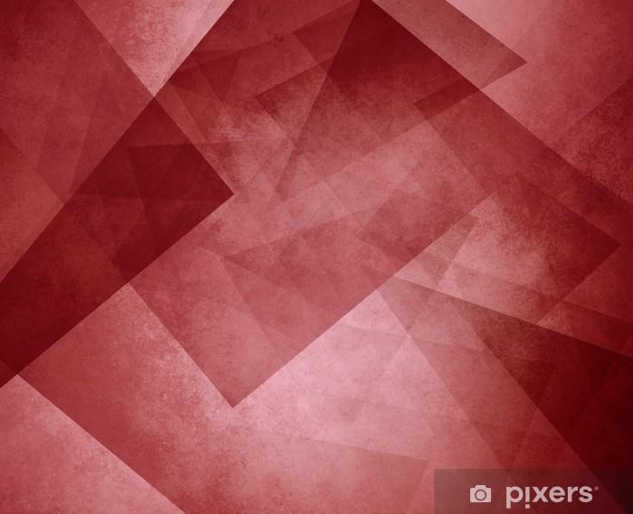 Sticker Pixerstick Fond de triangle rouge. couches élégantes de blocs et de formes triangulaires dans un motif aléatoire. couleur rouge bordeaux. - Ressources graphiques