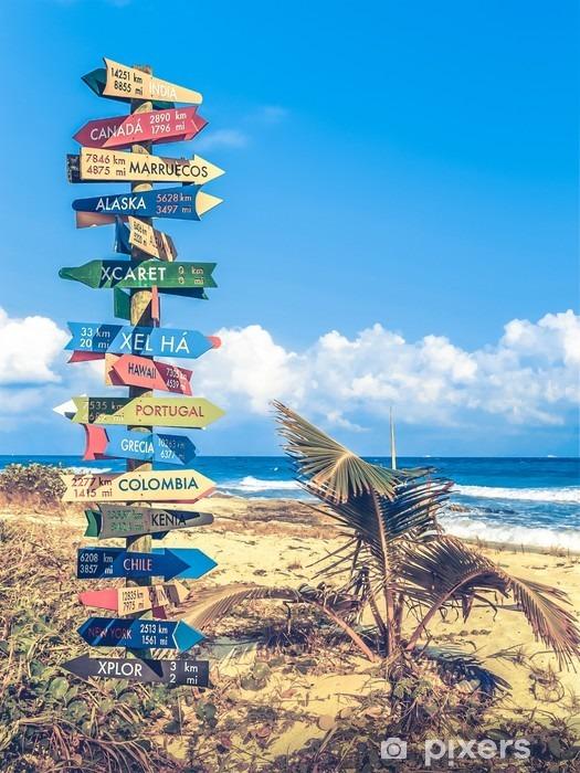 Sticker Pixerstick Panneau de Voyage du Monde - Passe-temps et loisirs