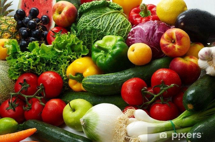Vinyl-Fototapete Gruppe der verschiedenen Obst-und Gemüse -