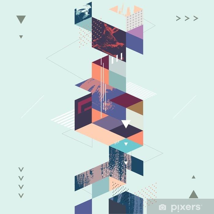 Nálepka Pixerstick Abstraktní moderní geometrické pozadí - Perspektiva
