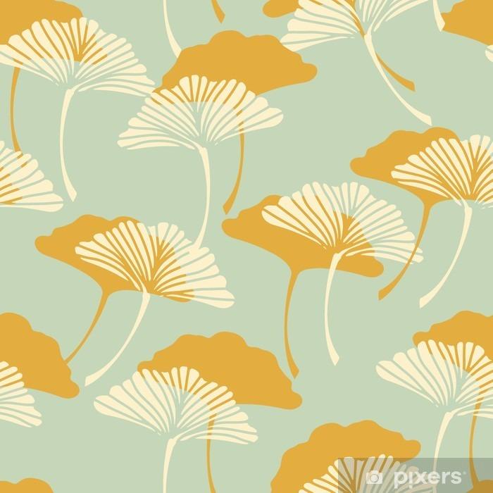 Raamsticker Een Japanse stijl ginkgo biloba verlaat naadloos tegel in een goud en lichtblauw kleurenpalet - Grafische Bronnen