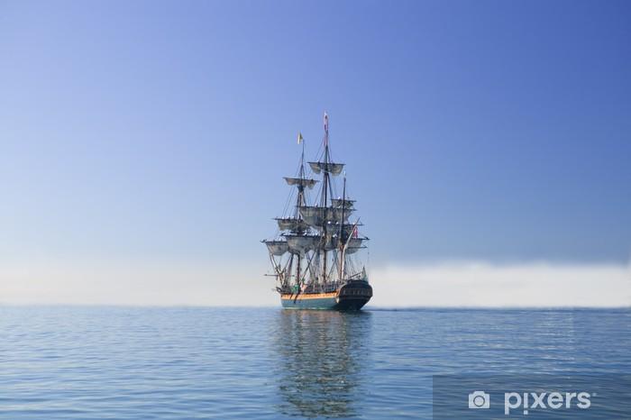 Tall Sailing Ship at Sea under full sail Vinyl Wall Mural - Boats