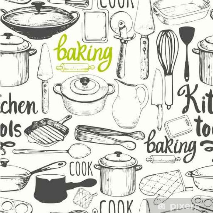 Fotomural Estándar De fondo sin fisuras con electrodomésticos y utensilios de cocina. patrón de menú. - Comida