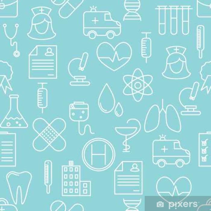 Carta da Parati in Vinile Linea sottile icone seamless. Medicina e sanità icona sfondo blu per siti web, applicazioni, presentazioni, carte, modelli. - Risorse Grafiche