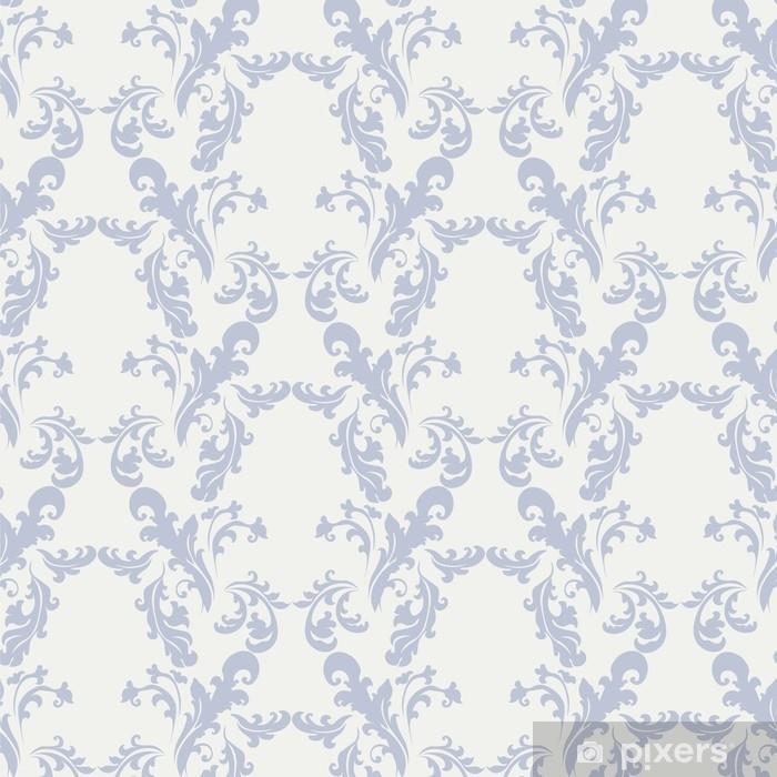 Naklejka Pixerstick Klasyczny styl kwiatowy ornament wzór beżowy i niebieski. wektor - Zasoby graficzne