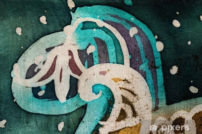 Pixerstick-klistremerke Blomst, varm batik, bakgrunnstekstur, håndlaget på silke, abstrakt surrealistisk kunst - Grafiske Ressurser