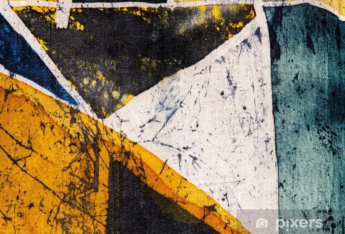 Pixerstick Sticker Meetkunde, heet batik, achtergrond textuur, met de hand gemaakt op zijde, abstracte surrealismekunst - Grafische Bronnen