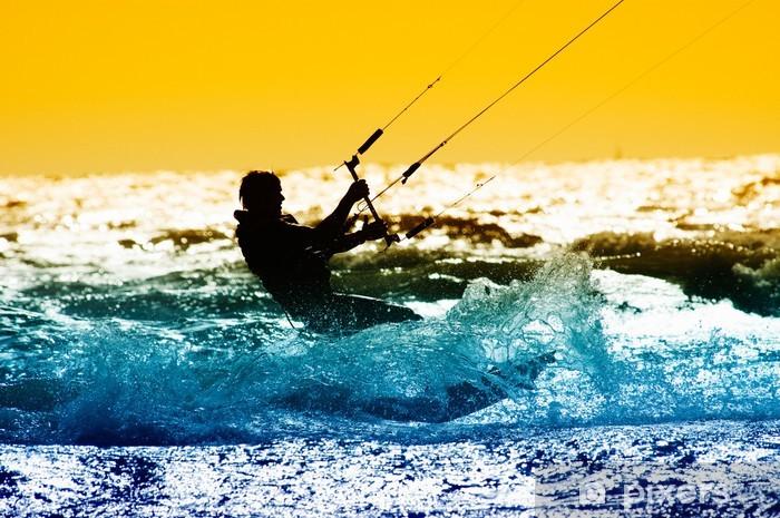 Naklejka Pixerstick Action pensjonariusz latawiec z zachodem słońca .. - Sporty wodne