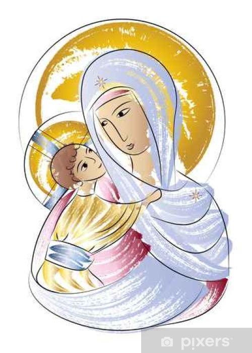 Resultado de imagen de Virgen maria dibujos infantil colores