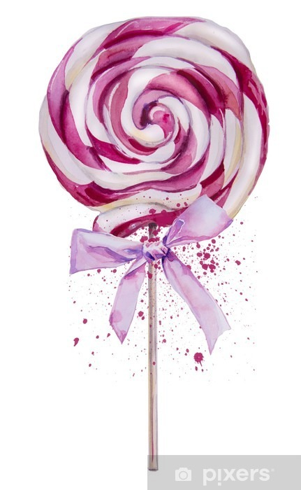 watercolor sweet Lollipop Vinyl Wall Mural - Food