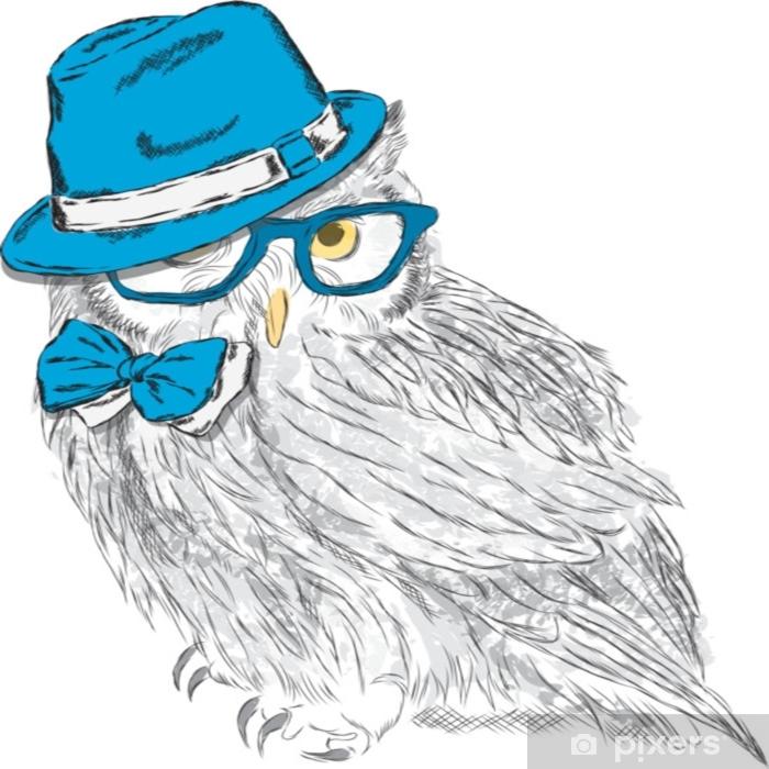 Aufkleber Eule Mit Hut Und Sonnenbrille Eule Hipster Modestil