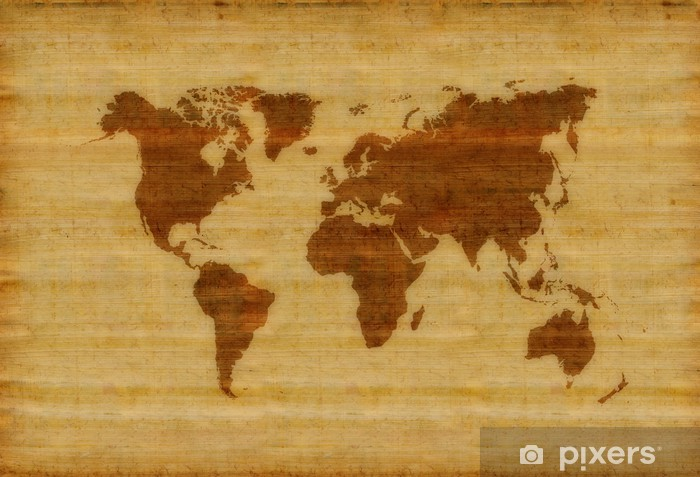 A World Map Parchment For Background Use Vinyl Wall Mural